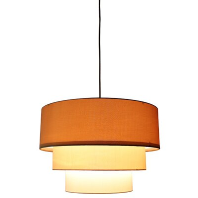 Renzo 3-Tier 1-Light Drum Pendant Finish: Black, Shade Color: Gold/Cream/Eggshell