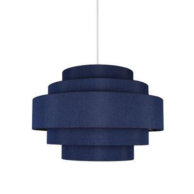 Palladio 5-Tier 1-Light Drum Pendant Shade Color: Navy Blue, Finish: White