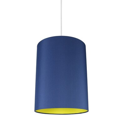 Mona Duo 1-Light Drum Pendant Shade Color: Navy Blue/Yellow Lining
