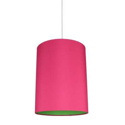 Mona Duo 1-Light Drum Pendant Shade Color: Fuchsia/Green Lining