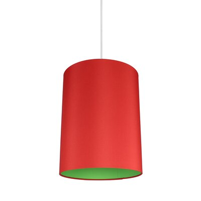 Mona Duo 1-Light Drum Pendant Shade Color: Red/Green Lining