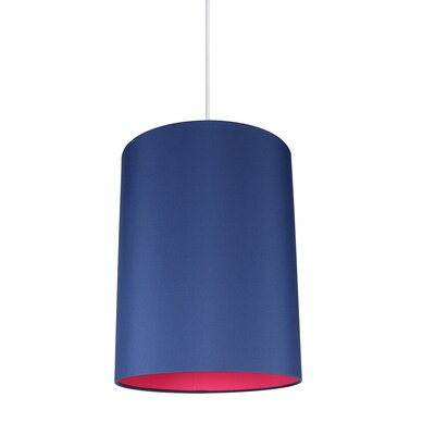 Mona Duo 1-Light Drum Pendant Shade Color: Navy Blue/Fuchsia Lining