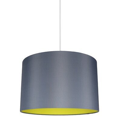 Maria Duo 1-Light Drum Pendant Shade Color: Gray/Yellow Lining