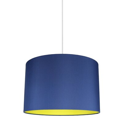 Maria Duo 1-Light Drum Pendant Shade Color: Navy Blue/Yellow Lining