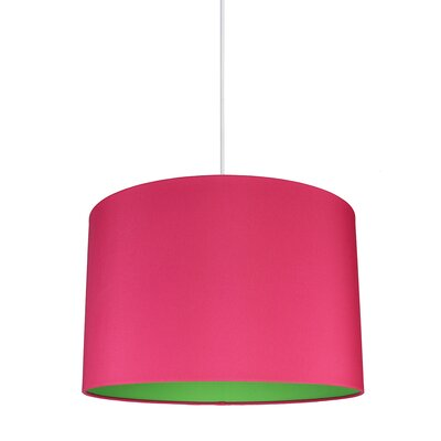 Maria Duo 1-Light Drum Pendant Shade Color: Fuchsia/Green Lining