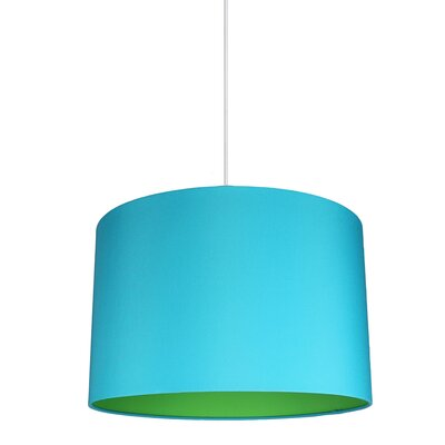 Maria Duo 1-Light Drum Pendant Shade Color: Teal/Green Lining