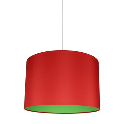 Maria Duo 1-Light Drum Pendant Shade Color: Red/Green Lining