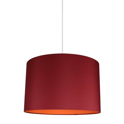 Maria Duo 1-Light Drum Pendant Shade Color: Burgundy/Orange Lining