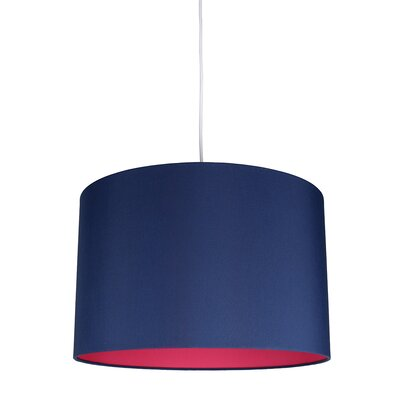 Maria Duo 1-Light Drum Pendant Shade Color: Navy Blue/Fuchsia Lining