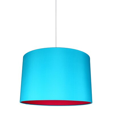 Maria Duo 1-Light Drum Pendant Shade Color: Teal/Fuchsia Lining