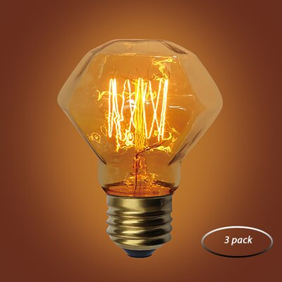 60W Amber E26 Incandescent Vintage Filament Light Bulb