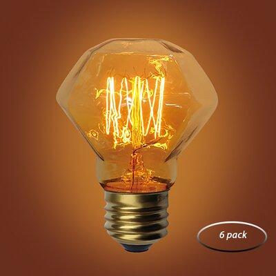 60W Amber E26 Incandescent Vintage Filament Light Bulb