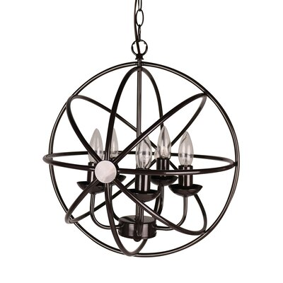 Brenville Bridgeport 5-Light Globe Pendant Finish: Oil-rubbed Bronze