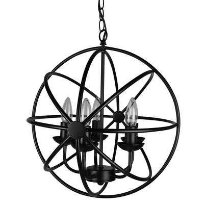 Brenville Bridgeport 5-Light Globe Pendant Finish: Black