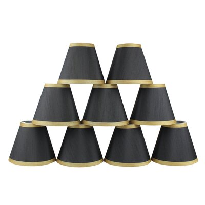 6 Silk Empire Candelabra Shade with Trim Color: Black