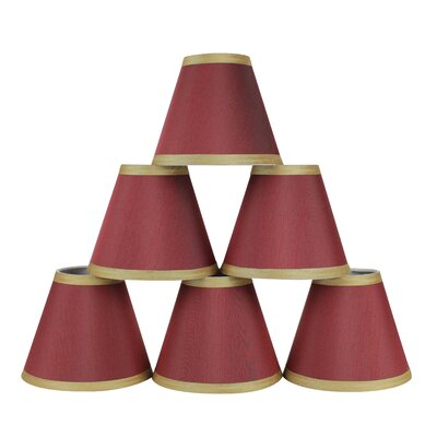 6 Silk Empire Candelabra Shade with Trim Color: Burgundy