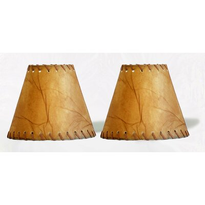 6 Faux Leather Empire Clip-on Candelabra Shade with Trim