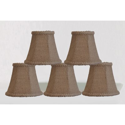 5 Burlap Bell Candelabra Shade with Trim