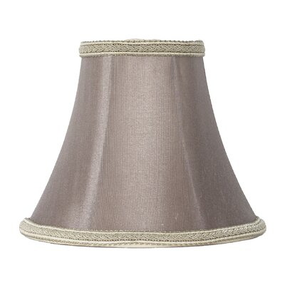 6 Silk Softback Bell Lamp Shade Color: Taupe/Dark Braided Trim