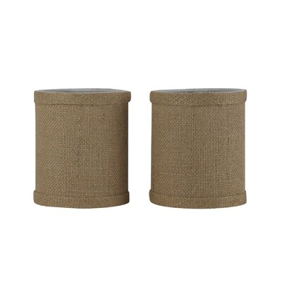 4 Natural Burlap Drum Candelabra Shade