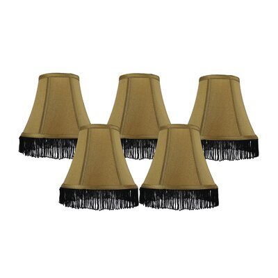 Fringe 6 Silk Bell Lamp Shade Color: Gold with Black Fringe
