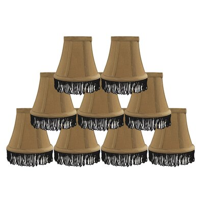 Fringe 5 Silk Bell Candelabra Shade Color: Gold with Black Fringe