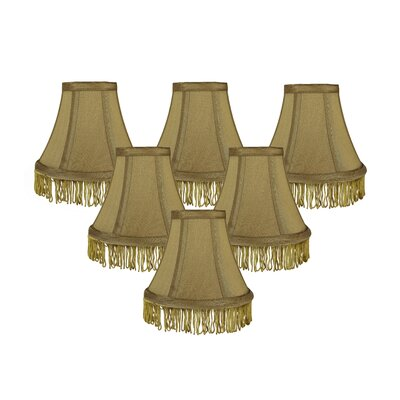 Fringe 6 Silk Bell Lamp Shade Color: Gold with Gold Fringe