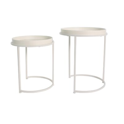Fabre 2 Piece Nesting Tables Color: Off White
