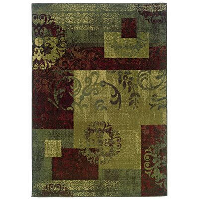 Midland Green/Red Area Rug Rug Size: 110 x 210