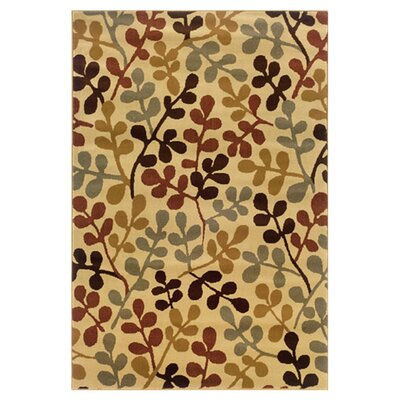 Garmon Ivory/Green Area Rug Rug Size: Rectangle 32 x 57
