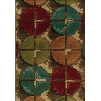 Bienville Contemporary Brown/Teal Area Rug Rug Size: 67 x 96