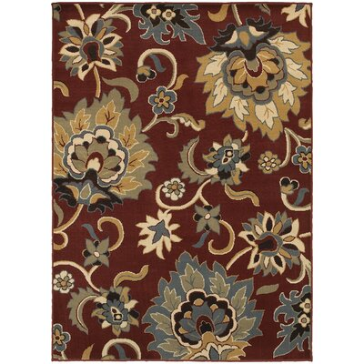 Sheridan Red/Gold Area Rug Rug Size: 67 x 93