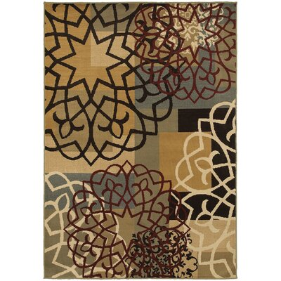 Sheridan Multi/Gold Area Rug Rug Size: Rectangle 53 x 73
