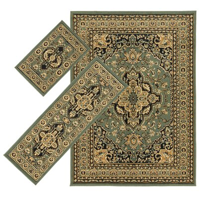 Landana 3 Piece Green/Tan Area Rug Set