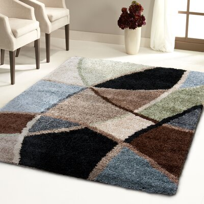 Adele Brown/Green Area Rug Rug Size: 27 x 39