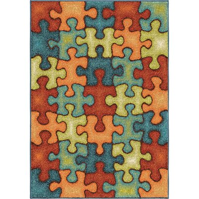 Lowell Orange/Blue Area Rug Rug Size: 310 x 52