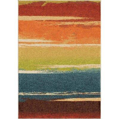 Hobart Orange/Red Area Rug Rug Size: 53 x 76