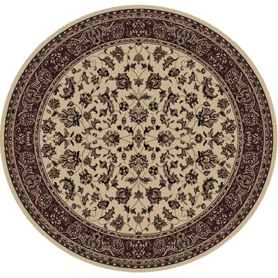 Columbus Ivory/Brown Area Rug Rug Size: Round 53