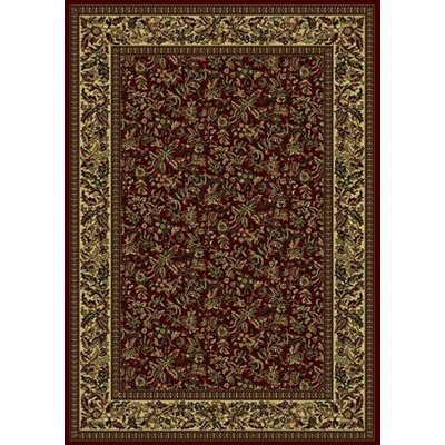 Columbus Burgundy/Tan Area Rug Rug Size: 55 x 77