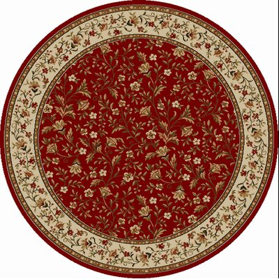 Colebrook Red Area Rug Rug Size: Round 53