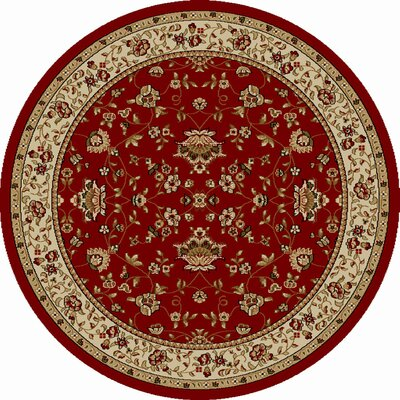 Colebrook Red Area Rug Rug Size: Round 8