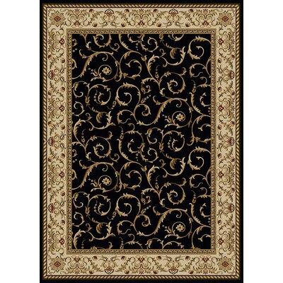 Colebrook Black Area Rug Rug Size: 55 x 77