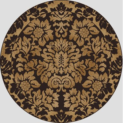 Colebrook Brown/Gold Area Rug Rug Size: Round 8