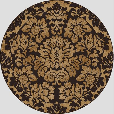Colebrook Brown/Gold Area Rug Rug Size: Round 53