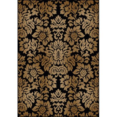 Mitchell Black/Brown Area Rug Rug Size: Round 8