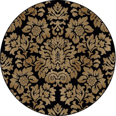 Mitchell Black/Brown Area Rug Rug Size: Round 53