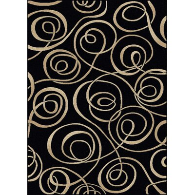 Stamford Black Area Rug Color: Black, Rug Size: 55 x 77