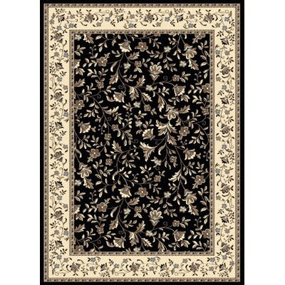 Windsor Black Area Rug Rug Size: 55 x 77