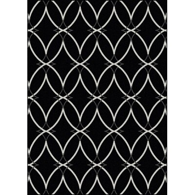 Hampton Black Area Rug Rug Size: 55 x 77
