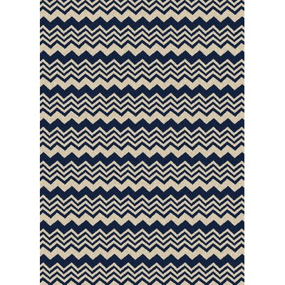 Hampton Navy/Cream Area Rug Rug Size: 55 x 77